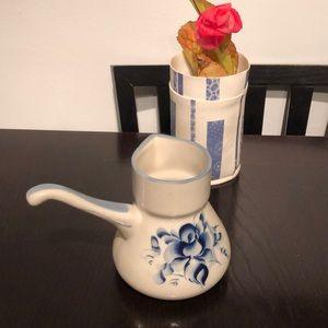 VTG Gzhel Coffee pot with handle 16oz c. 1958